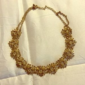 Gold Necklace with Cluster of Jeweled Flowers